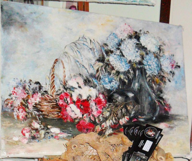SAM_3398 26.10-2012 Fiori e trasparenze,cm80x60,olio su tela a spatola,pittura diretta,pigmenti naturali,vernice damar.